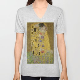 The Kiss by Gustav Klimt Unisex V-Neck