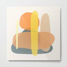 Abstract Overlap \\ Orange & Petrol Metal Print