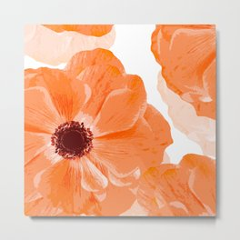 Beautiful Coral Color Flowers White Background #decor #society6 #buyart Metal Print