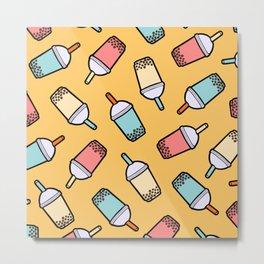 Bubble Tea Pattern Metal Print