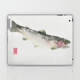 Rainbow Trout Dive - Gyotaku Laptop & iPad Skin