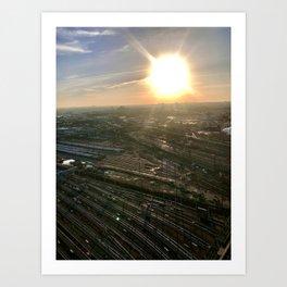 Railroad Sunrise Queen Art Print