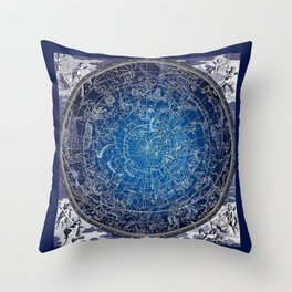 Vintage Celestial Constellations 17th Cenurty Star Map - Star Chart of the Constellations Throw Pillow