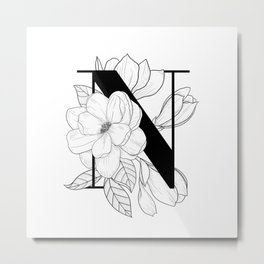 Monogram Letter N with Magnolia Line Art  Metal Print
