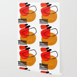 Mid Century Modern Abstract Vintage Pop Art Space Age Pattern Orange Yellow Black Orbit Accent Wallpaper