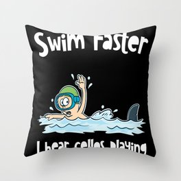Shark Against Swimmer Competitive Swimming Motif Throw Pillow