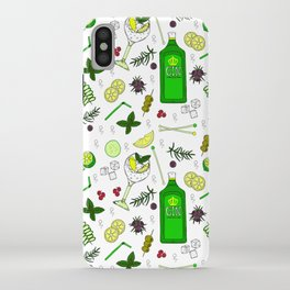 Colourful Gin Cocktails and Ingredients Cocktail Bar Pattern iPhone Case