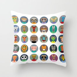Set of animals faces circle icons set in Trendy Flat Style. zoo Throw Pillow