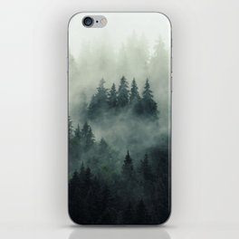 Misty pine fir forest landscape in hipster vintage retro style iPhone Skin