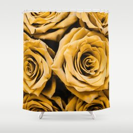 Mustard Roses Shower Curtain