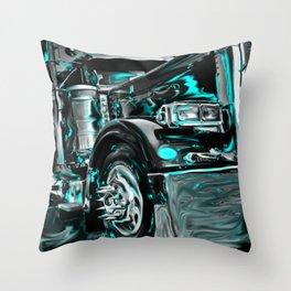 Big rig truck Throw Pillow