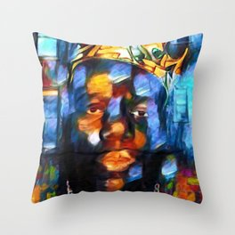 "African American 'King of New York,' Bedford–Stuyvesant ""Biggie"" Mural Portrait Throw Pillow"