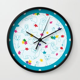Blue animals lineart pattern Wall Clock