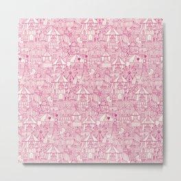retro circus pink ivory Metal Print