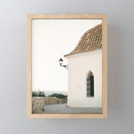 "Travel photography ""Ibiza white"" | Modern wall art Ibiza Spain coast white tones sunset Framed Mini Art Print"