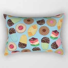 Assorted Cookies on Blue Background Rectangular Pillow