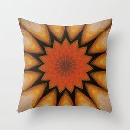 Solar // Mandala Rays Orange Yellow Golden Energy Chakra Healing Light Throw Pillow