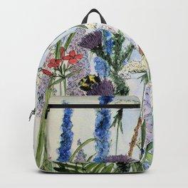 Wildflower in Garden Watercolor Flower Illustration Painting Backpack