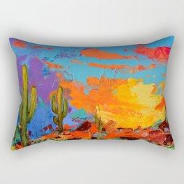 Saguaros Land Sunset Rectangular Pillow