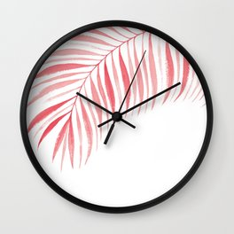 Tropical Palm Frond: Coral/Red Wall Clock