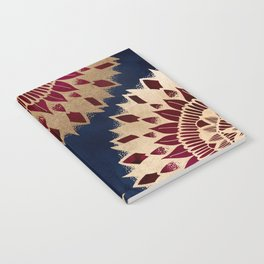 Bohemian Gold Navy Burgundy Hand Drawn Mandala Notebook