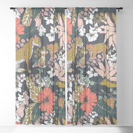 Animal print dark jungle Sheer Curtain