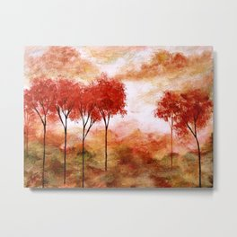 Burning Promise, Red Trees Landscape Art Metal Print