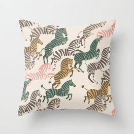 Zebra Stampede Throw Pillow