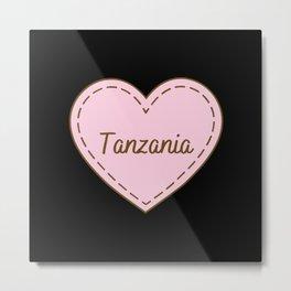 I Love Tanzania Simple Heart Design Metal Print