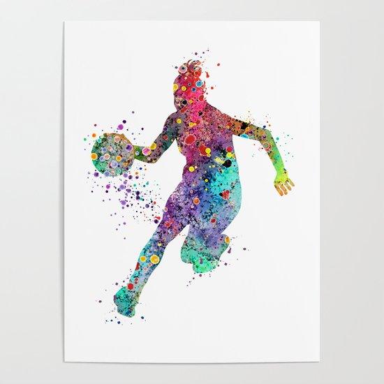 Girl Basketball Watercolor Print Basketball Wall Art Basketball Poster Basketball Wall Decor by svetlaart