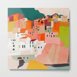 italy coast houses minimal abstract painting Metal Print