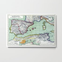 Old map of spain and north africa Metal Print