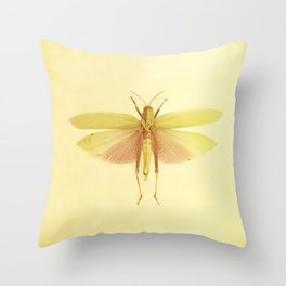 Vintage Inspired Pastel Yellow Salmon Butterfly Throw Pillow