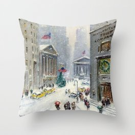 Broad Street to Wall Street, New York City landscape painting by Guy Carleton Wiggins Throw Pillow
