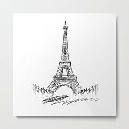 Eiffel Tower minimalist black and white illustration Metal Print