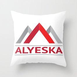Alyeska Alaska Ski Snowboard Skiing Trail Map Resort Anchorage Valdez Throw Pillow