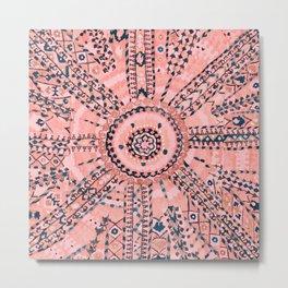 Light Pink Wildflower Sunshine I // 18th Century Colorful Pinkish Dusty Blue Gray Positive Pattern Metal Print