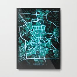 Eindhoven, Netherlands, Blue, White, Neon, Glow, City, Map Metal Print