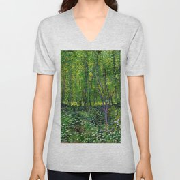Vincent Van Gogh Trees and Undergrowth 1887 Unisex V-Neck