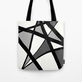 Geometric Line Abstract - Black Gray White Tote Bag