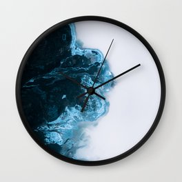 Abstract Aerial Lake in Iceland – Minimalist Landscape Photography Wall Clock