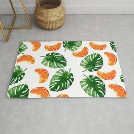 Tropical Leaf Pattern and Mandarin Rug