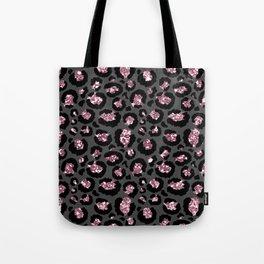 Black & Rose Gold Leopard Print Glitter Tote Bag