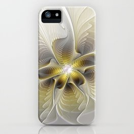 Gold And Silver, Abstract Flower Fractal iPhone Case