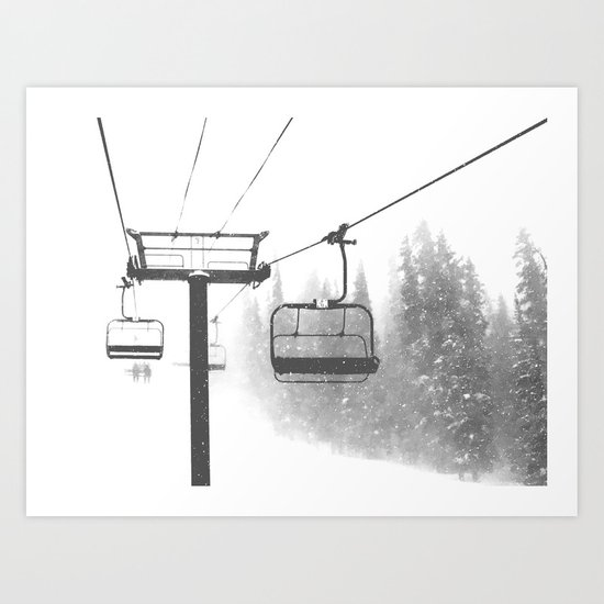 Chairlift Abyss // Black and White Chair Lift Ride to the Top Colorado Mountain Artwork by byrdonwheels