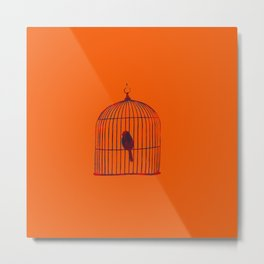 Orange Birdcage Metal Print