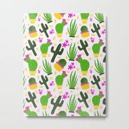 Cactus Pattern of Succulents Metal Print