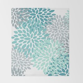 Floral Pattern, Aqua, Teal, Turquoise and Gray Throw Blanket