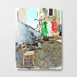 Tortora glimpse with chair and building whit Italian flag painted on the wall Metal Print