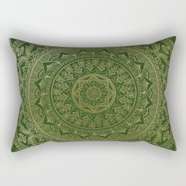 Mandala Royal - Green and Gold Rectangular Pillow
